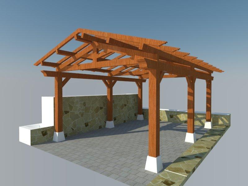 Como construir pergola de madera great pergolas jardin - Como hacer una pergola de hierro ...